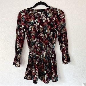 Ella Moss Floral Black Velvet Kids Dress